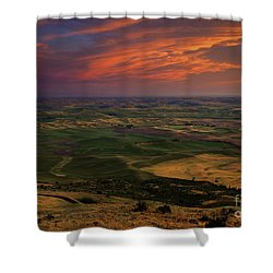 Red Sky Over The Palouse Shower Curtain by Mike  Dawson
