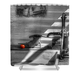 Red Tomato By Sink Shower Curtain by Dan Friend