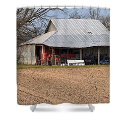 Red Tractor In A Tin Roofed Shed Shower Curtain by Paulette B Wright