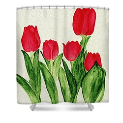 Red Tulips Shower Curtain by Anastasiya Malakhova