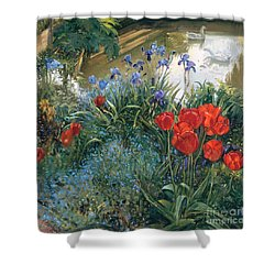 Red Tulips And Geese  Shower Curtain by Timothy Easton