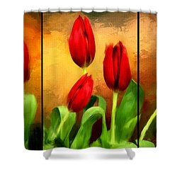 Red Tulips Triptych Shower Curtain by Lourry Legarde