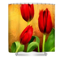 Red Tulips Triptych Section 2 Shower Curtain by Lourry Legarde