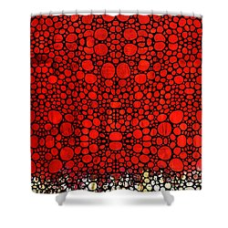 Red Valley - Abstract Landscape Stone Rock'd Art Shower Curtain by Sharon Cummings