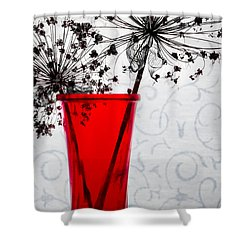 Red Vase With Dried Flowers Shower Curtain by Michael Arend