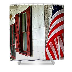 Red White And Blue Shower Curtain by Dorothy Menera
