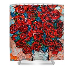 Red Wild Roses Shower Curtain by Ana Maria Edulescu