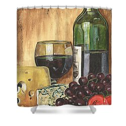 Red Wine And Cheese Shower Curtain by Debbie DeWitt