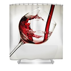 Red Wine Pouring Into A Glass Shower Curtain by Richard Desmarais