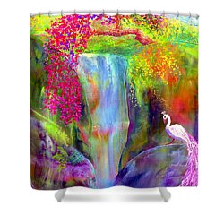 Waterfall And White Peacock, Redbud Falls Shower Curtain by Jane Small