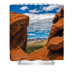 Redstone Shower Curtain by Robert Bales