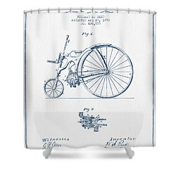 Reed Bicycle Patent Drawing From 1890 - Blue Ink Shower Curtain by Aged Pixel