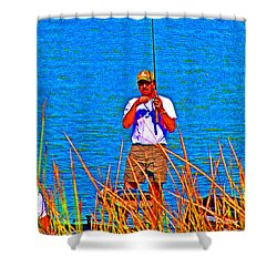 Reel Inn Shower Curtain by Joseph Coulombe