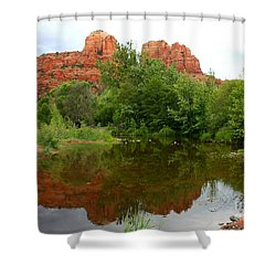 Reflection Of Cathedral Rock Shower Curtain by Carol Groenen