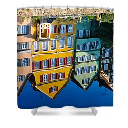 Reflection Of Colorful Houses In Neckar River Tuebingen Germany Shower Curtain by Matthias Hauser