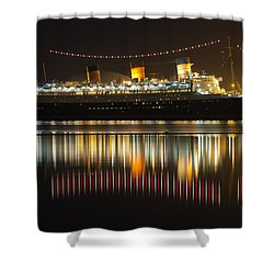 Reflections Of Queen Mary Shower Curtain by Heidi Smith