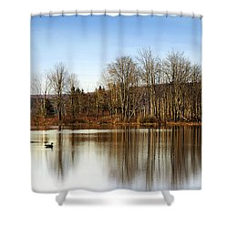 Reflections On Golden Pond Shower Curtain by Christina Rollo