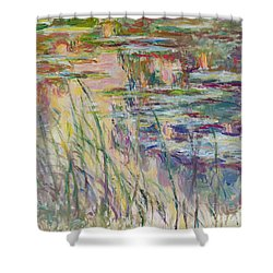 Reflections On The Water Shower Curtain by Claude Monet