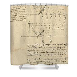 Register Of Milan Cathedral Weight And Study Of Relationship Between Position Of Beam Shower Curtain by Leonardo Da Vinci