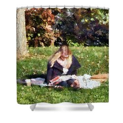 Relaxing In The Park Shower Curtain by Susan Savad