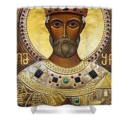 Religious Art Inside The Tsminda Sameba Cathedral Tbilisi Shower Curtain by Robert Preston