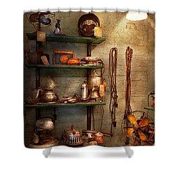 Repair - In The Corner Of A Repair Shop Shower Curtain by Mike Savad