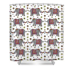 Repeat Print - Indian Elephant Shower Curtain by Susan Claire
