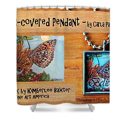 Resin Pendant With Butterfly And Sky Shower Curtain by Carla Parris