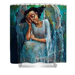 Resting Angel Shower Curtain by Michal Kwarciak