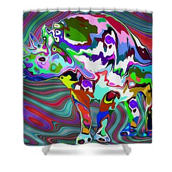 Rhino - Abstract 2 Shower Curtain by Jack Zulli