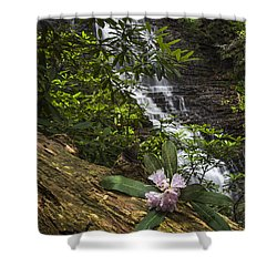 Rhododendron At The Falls Shower Curtain by Debra and Dave Vanderlaan