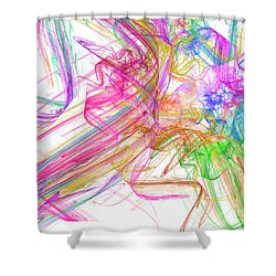 Ribbons And Curls White - Abstract - Fractal Shower Curtain by Andee Design