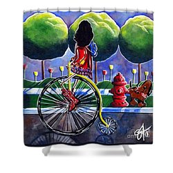 Riding Grandmas Bike Shower Curtain by Jackie Carpenter