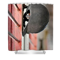 Riding Helmet Shower Curtain by Lisa Phillips