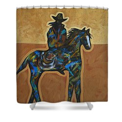 Riding Solo Shower Curtain by Lance Headlee