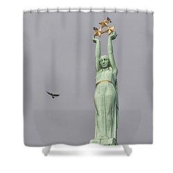 Riga Freedom Monument 03 Shower Curtain by Antony McAulay