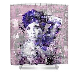 Rihanna 3 Shower Curtain by Bekim Art