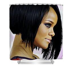 Rihanna Artwork Shower Curtain by Sheraz A
