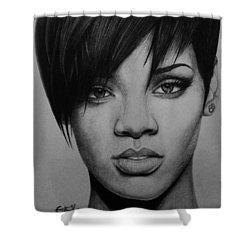 Rihanna Shower Curtain by Carlos Velasquez Art