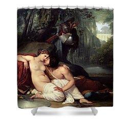 Rinaldo And Amida Shower Curtain by Francesco Hayez