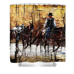 Rio Cowboy With Horses  Shower Curtain by Barbara Chichester