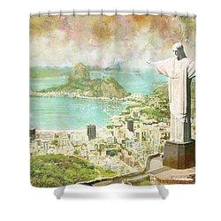 Rio De Janeiro Shower Curtain by Catf