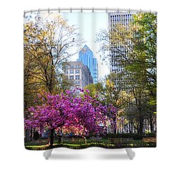 Rittenhouse Square In Springtime Shower Curtain by Bill Cannon