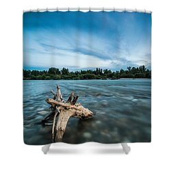 River At Night Shower Curtain by Davorin Mance