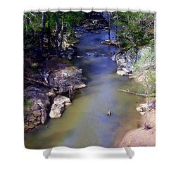 River At Noccalula Falls Shower Curtain by Debra Forand