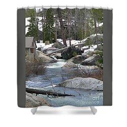 River Cabin Shower Curtain by Bobbee Rickard