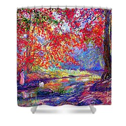 River Of Life, Colors Of Fall Shower Curtain by Jane Small