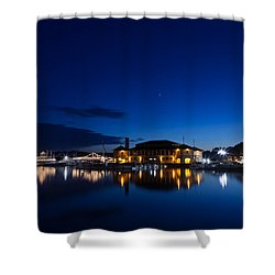 Riviera Blue Shower Curtain by Steve Gadomski