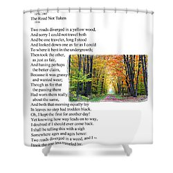 Robert Frost - The Road Not Taken Shower Curtain by Ed Churchill