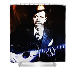 Robert Johnson - King Of The Blues Shower Curtain by Bill Cannon